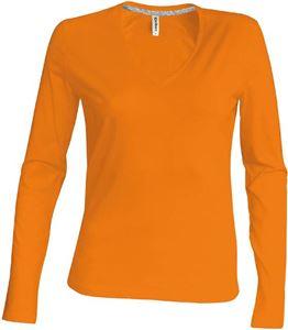 Afbeelding van Oranje Dames T-shirt lange mouw met V-hals