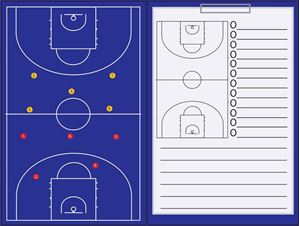 Afbeelding van Magnetische coachmap met clip en schrijfblok Basketbal