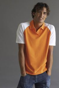 Afbeelding van Baseball Polo Kariban Orange / White