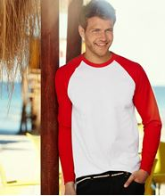 Picture of Long sleeve Baseball Tee Wit - Rood