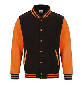 Afbeelding van Electric Varsity Jacket Jet Black - Fluoriserend Orange XXL