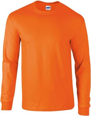 Picture of Ultra Cotton Adult Long Sleeve T-shirt Gildan Safety Orange