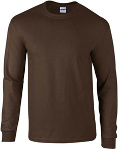 Afbeelding van Ultra Cotton Adult Long Sleeve T-shirt Gildan Dark Chocolate