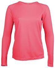 Picture of Dames Sport T-shirt lange mouw Proact Fluoriserend Roze