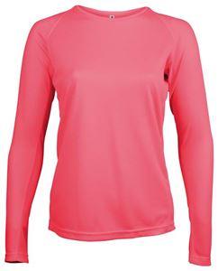 Afbeelding van Dames Sport T-shirt lange mouw Proact Fluoriserend Roze