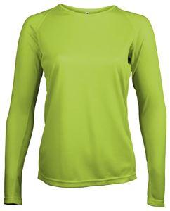 Afbeelding van Dames Sport T-shirt lange mouw Proact Lime