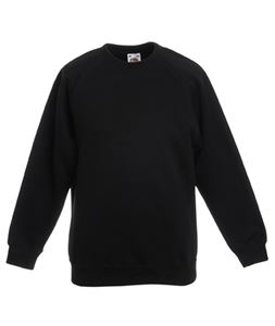 Afbeelding van Kids Raglan Sweat Fruit of the Loom Black