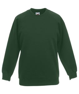 Afbeelding van Kids Raglan Sweat Fruit of the Loom Bottle Green