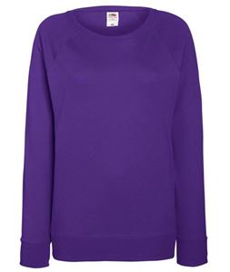 Afbeelding van Lady-fit lightweight raglan sweatshirt Fruit of the Loom Purple