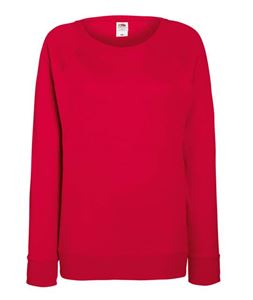 Afbeelding van Lady-fit lightweight raglan sweatshirt Fruit of the Loom Red