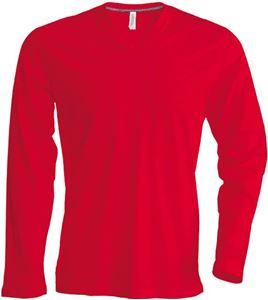 Afbeelding van Heren T-shirt lange mouw met V-hals Red