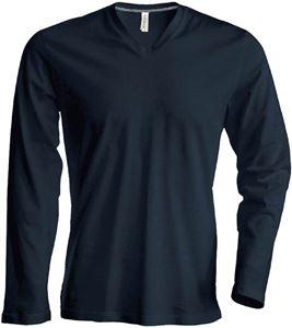 Afbeelding van Heren T-shirt lange mouw met V-hals Dark Grey
