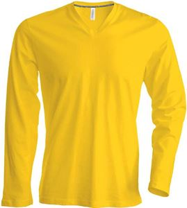 Afbeelding van Heren T-shirt lange mouw met V-hals Yellow