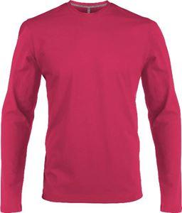 Afbeelding van Heren T-shirt lange mouw met V-hals Fuchsia