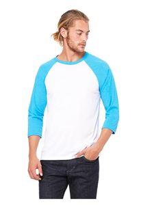 Afbeelding van  3/4 mouw Baseball T-shirt Wit - Neon Blauw