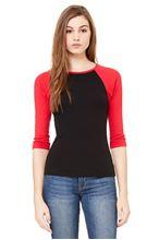Picture of 3/4 sleeve women's contrast raglan tee Zwart - Rood