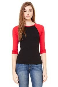 Afbeelding van 3/4 sleeve women's contrast raglan tee Zwart - Rood