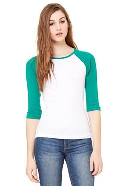 Picture of 3/4 sleeve women's contrast raglan tee