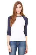 Picture of 3/4 sleeve women's contrast raglan tee Wit - Navy