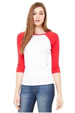 Picture of 3/4 sleeve women's contrast raglan tee Wit - Rood