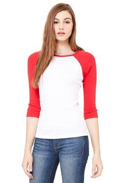 Afbeelding van 3/4 sleeve women's contrast raglan tee Wit - Rood