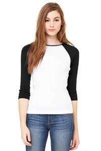 Afbeelding van 3/4 sleeve women's contrast raglan tee Wit - Zwart