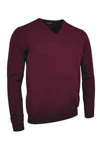 Afbeelding van Glenmuir Mens V-neck Lambswool Golf Sweater Bordeaux