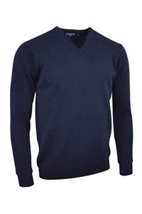 Afbeelding van Glenmuir Mens V-neck Lambswool Golf Sweater Navy