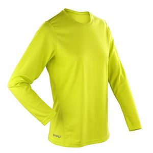 Afbeelding van Sneldrogend Dames Sport T-shirt lange mouw Lime Green