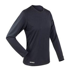 Afbeelding van Sneldrogend Dames Sport T-shirt lange mouw Black