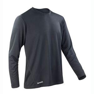 Afbeelding van Sneldrogend Heren Sport T-shirt lange mouw Black