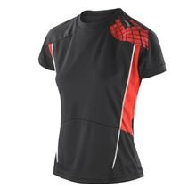 Picture of Cool-Dry Spiro Ladies Training Shirt Black / Red