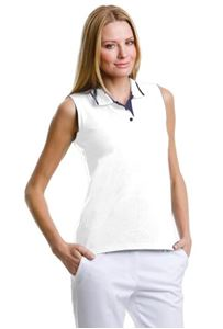 Afbeelding van  Women's Gamegear® proactive sleeveless polo White / Navy