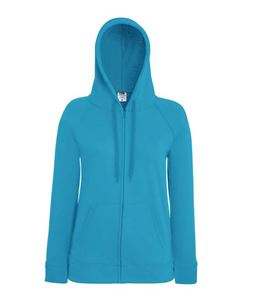 Afbeelding van Fruit of the Loom Lady-fit Lightweight Hooded Sweatshirt Jacket Azure Blue