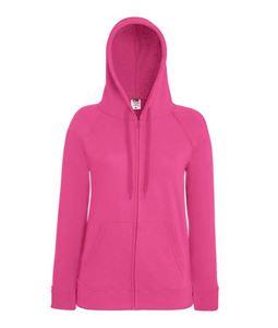 Afbeelding van Fruit of the Loom Lady-fit Lightweight Hooded Sweatshirt Jacket Fuchsia