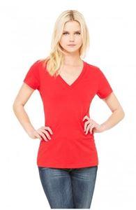Afbeelding van Jersey Deep V-Neck T-Shirt Red