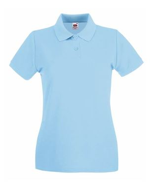 Picture of Ladies Premium Polo Fruit of the Loom Sky Blue maat M