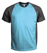 Picture of Tweekleurig sport T-Shirt Light Turquoise / Dark Grey