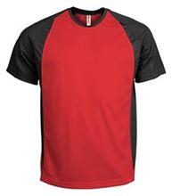 Picture of Tweekleurig sport T-Shirt Rood - Zwart