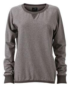 Afbeelding van French Terry Dames Sweater James & Nicholson Grijs melange / zwart melange