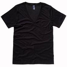 Picture of Unisex Jersey deep v-neck T-shirt Black