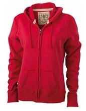 Picture of James & Nicholson Ladies Vintage Hoody Red