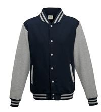 Picture of Kids Base Ball Jacket Oxford Navy / Heather Grey
