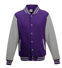 Picture of Kids Base Ball Jacket Purple / Heather Grey