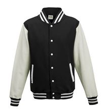 Picture of Kids Base Ball Jacket Jet Black / White