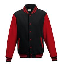 Picture of Kids Base Ball Jacket Jet Black/ Fire Red