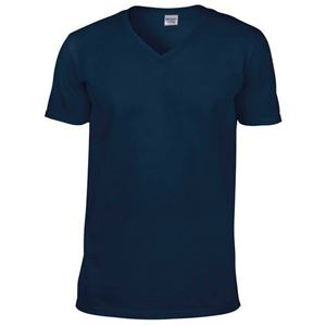 Afbeelding van Softstyle Mens V-Neck T-shirt Gildan Navy