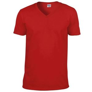 Afbeelding van Softstyle Mens V-Neck T-shirt Gildan Red