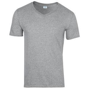 Afbeelding van Softstyle Mens V-Neck T-shirt Gildan Sport Grey