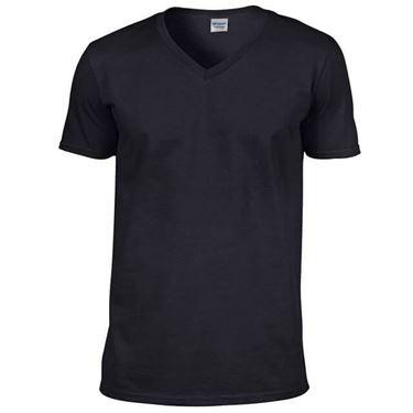Picture of Softstyle Mens V-Neck T-shirt Gildan Black